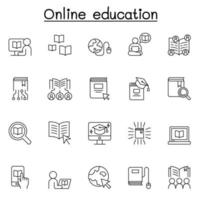 icone di istruzione online impostate in stile linea sottile vettore