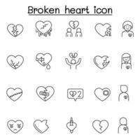 cuore spezzato, icona di crepacuore impostato in stile linea sottile vettore