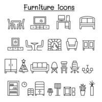 icona di mobili impostata in stile linea sottile vettore