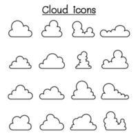 icona a forma di nuvola in stile linea sottile vettore