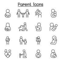 icone di genitore e famiglia impostate in stile linea sottile vettore