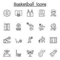 set di icone di linea di vettore relative al basket. contiene icone come palla, cerchio, giocatore, tabellone segnapunti, palla, trofeo, campo da basket e altro ancora.