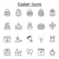 set di icone di linea del vettore relative alla Pasqua. contiene icone come uovo, regalo, chiesa, coniglio, pollo, bibbia, palloncino, fiore, croce, angelo, celebrazione e altro ancora.