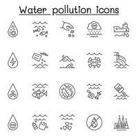 set di icone di linea del vettore relative all'inquinamento delle acque. contiene icone come acqua sporca, contaminati, rifiuti industriali, bottiglie di plastica, batteri, immondizia e altro ancora.