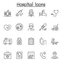 Icone dell'ospedale impostate in stile linea sottile vettore