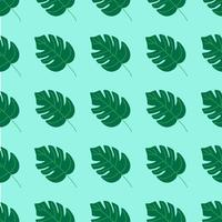 modello estivo senza soluzione di continuità, foglie di monstera su uno sfondo turchese. illustrazione vettoriale piatta