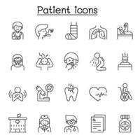 icone paziente impostate in stile linea sottile vettore