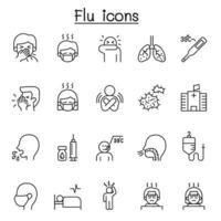 icone di influenza, malati e malattie impostate in stile linea sottile vettore