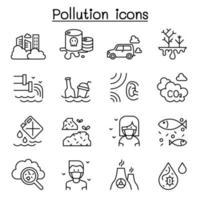 icona di inquinamento impostata in stile linea sottile vettore