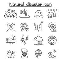 icona di disastro impostato in stile linea sottile vettore