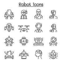 icona del robot impostato in stile linea sottile vettore