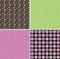 mod rosa verde nero senza soluzione di continuità motivi floreali e geometrici vettoriali