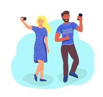 coppia prende un selfie vettore