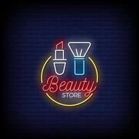 vettore del testo di stile delle insegne al neon del negozio di bellezza
