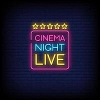 cinema night live neon insegne stile testo vettoriale