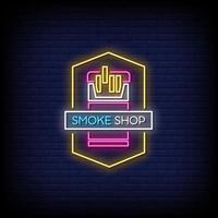vettore del testo di stile delle insegne al neon del negozio di fumo