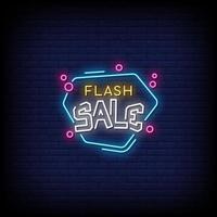 vettore del testo di stile delle insegne al neon di vendita flash