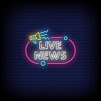 notizie in tempo reale insegne al neon stile testo vettoriale