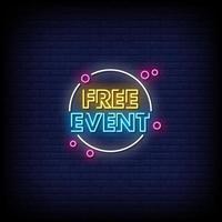 vettore di testo in stile insegne al neon di eventi gratuiti