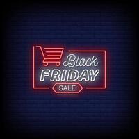 vettore del testo di stile delle insegne al neon di vendita di venerdì nero