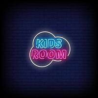 vettore del testo di stile delle insegne al neon della stanza dei bambini