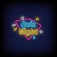 quiz notte insegne al neon stile testo vettoriale
