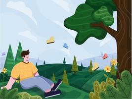illustrazione del paesaggio della collina di primavera con fiori, erba, farfalle e persone che si rilassano godendosi la stagione primaverile. natura paesaggio primavera sfondo, villaggio, persone picnic in vacanza. adatto per cartolina, biglietto di auguri, banner, poster, flyer. vettore