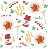 una serie di illustrazioni sul tema della cottura della pasta. elementi di cottura di vettore. vettore