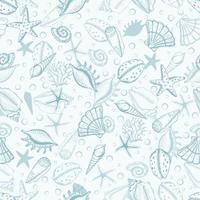 collezione senza cuciture di conchiglie, alghe e stelle disegnate a mano. conchiglia di illustrazione marina. ideale per tessuto, carta da parati, carta da imballaggio, tessuto, biancheria da letto, stampa di t-shirt. vettore
