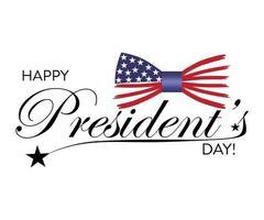 felice giorno del presidente negli Stati Uniti con stelle e farfallino. script. design calligrafico per la stampa di biglietti di auguri, banner di vendita, poster. vettore
