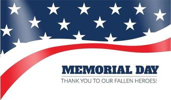 vettore della bandiera americana per il memorial day. biglietto di auguri felice giorno della memoria. illustrazione vettoriale. bandiera americana patriottica creativa