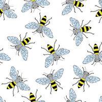schizzo ape seamless pattern. sfondo divertente con insetti. disegno disegnato a mano per confezionamento, tessile o pacchetto di miele. vettore