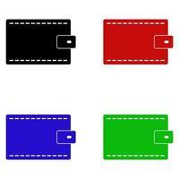 portafoglio impostato su sfondo bianco vettore