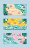 modelli di banner spiaggia estiva vettore
