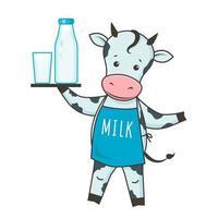 simpatico personaggio dei cartoni animati di vacca da latte con bottiglia di latte e bicchiere di latte. vettore