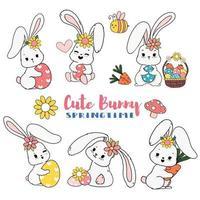 simpatico coniglietto di pasqua dolce primavera con set di raccolta di doodle del fumetto dell'uovo vettore