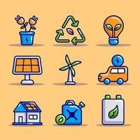 collezioni di icone di tecnologia eco verde vettore