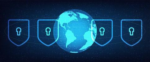 rete di sicurezza digitale su sfondo tecnologico globale, connessione e progettazione del concetto di comunicazione vettore