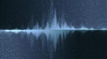 onda sonora digitale su sfondo blu scuro, tecnologia e concetto di diagramma delle onde del terremoto vettore
