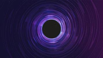 buco nero a spirale ultravioletta su sfondo galassia. progettazione del concetto di pianeta e fisica vettore