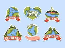 pacchetto di adesivi per la giornata della terra vettore