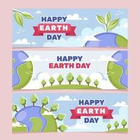raccolta di banner di consapevolezza della giornata della terra vettore