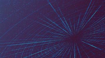 movimento futuristico della velocità dell'iperspazio su sfondo tecnologico futuro, ordito e concetto di movimento in espansione vettore