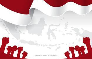 indonesiano che celebra il giorno della pancasila con la mappa dell'indonesia e lo sfondo della bandiera vettore