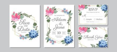fiore colorato con set di invito a nozze cornice dorata vettore