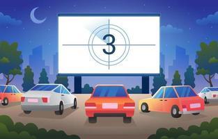 guidare nel cinema al parco nella notte stellata vettore