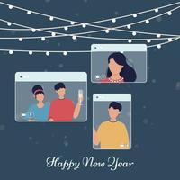 vacanze di Natale in linea incontri celebrazione invernale. invito alla tecnologia Internet vettore