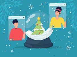 globo di neve di celebrazione di natale in linea e schermo del telefono della gente. vettore