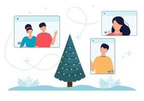 celebrazione di Natale in linea persone schermo del telefono e albero di natale. illustrazione vettoriale schermi del telefono del computer con le persone