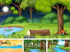 scene orizzontali di natura diversa in stile cartone animato vettore